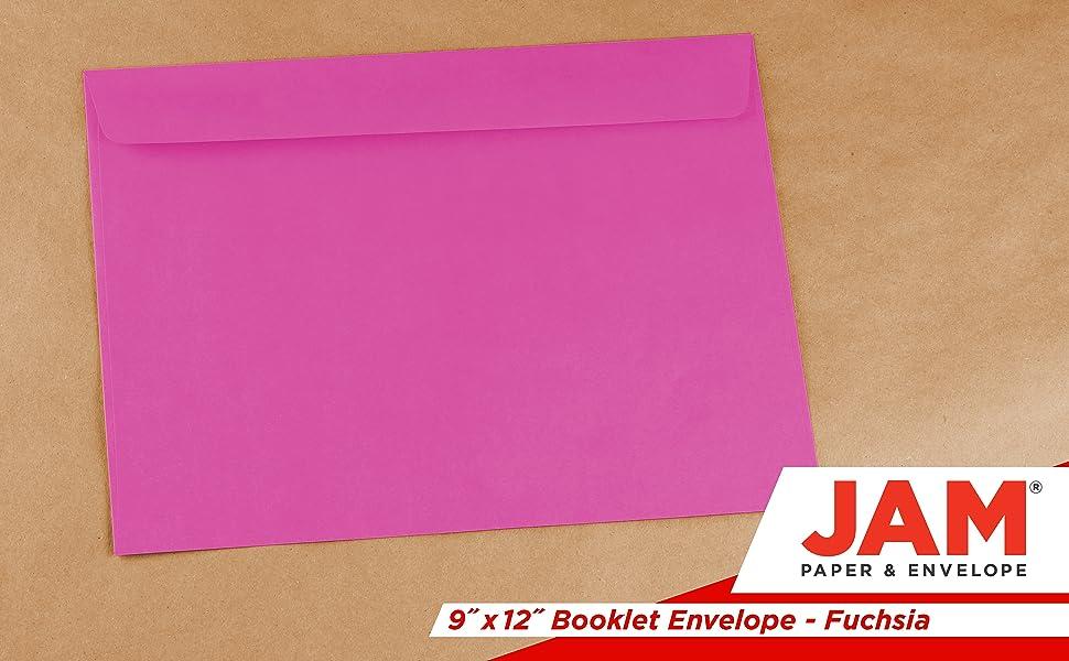 fuchsia 9 x 12 booklet envelope