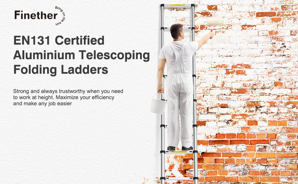 Finether 3,8M Escalera Telescópica de Aluminio, Escalera Extensible Multifuncional Portátil, Certificada por EN131, profesionales y Plegables, Carga 150kg Color Negro: Amazon.es: Bricolaje y herramientas