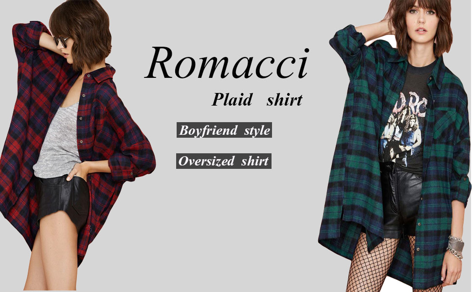 Long Sleeve LACE-UP OVERSIZE PLAID SHIRT with Chest Pockets Detail S ~ L