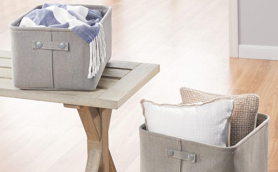 Organization Holder Container Bin Box Basket Fabric Cotton Woven Collapsable Folds Discreet Stylish