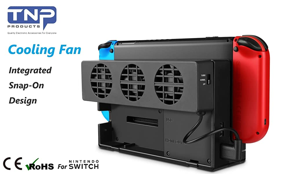 Cooling Fan Compatible with Nintendo Switch Dock Set - ElecGear Turbo Cooler for NS Original Docking