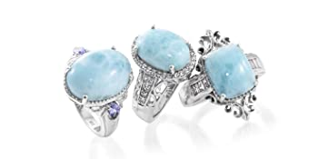 Shop LC Delivering Joy Statement Ring Stainless Steel Pear Larimar Jewelry for Women Size 10