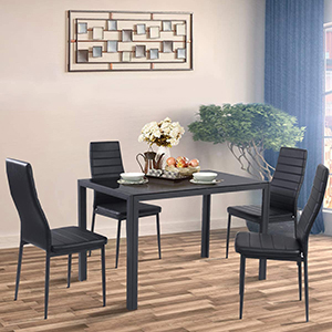 5 Piece Kitchen Dining Table Set with Glass Table Top