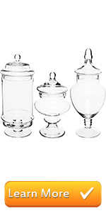 Deluxe Apothecary Jar Sets / Glass Kitchen Storage Jars / Terrarium amp; Home Decor Centerpieces