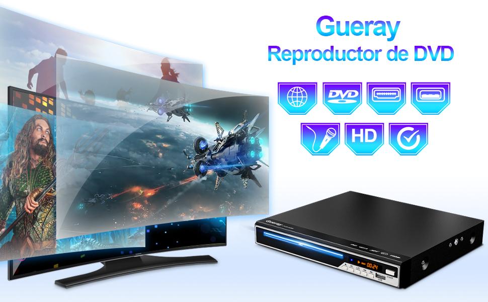 Gueray Reproductor DVD HDMI para Televisión Portátil Reproductor ...