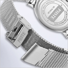 rich mens silver and blue face dial watch with solid smooth stainless steel mesh strap wristwatch