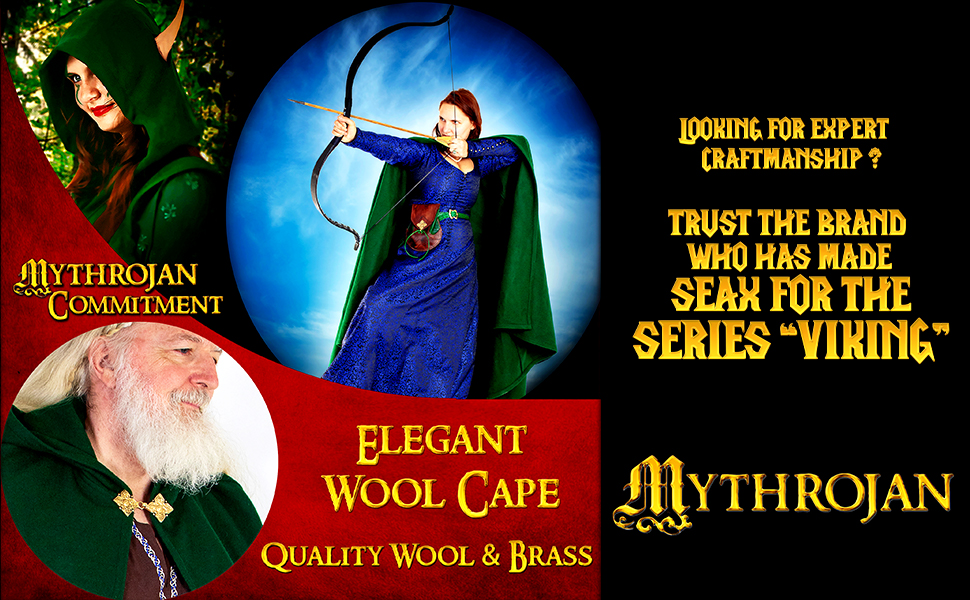 Princess Witch Renaissance wool woolen cape SCA LARP Cosplay Viking costume Warrior Vikings cloak