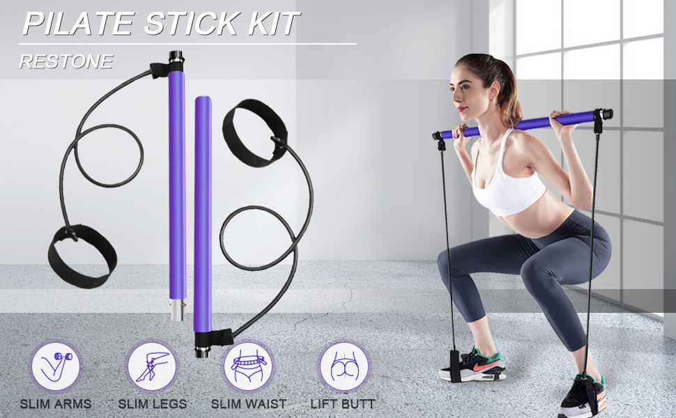 pilates bar kit with resistant band