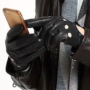 Stylish Mens Black//White Soft Leather Driving Glove By Lorenz New XL