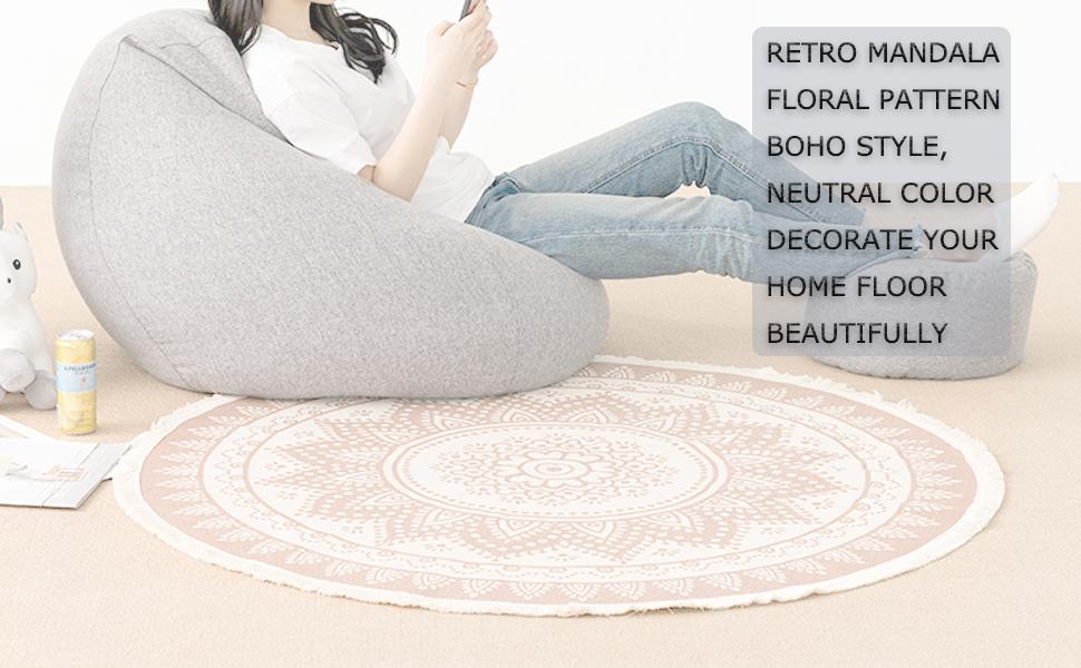 mandala area rug woven circle mat indoor mat round rug bedroom living room boho 4 ft fringe bohemian