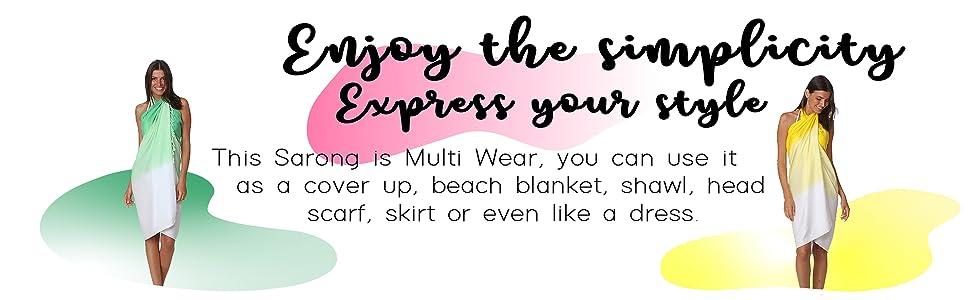 tie dye sarong, long dip tie dye sarong, beach wear, beach sarong, sarong,