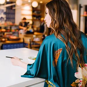 KIM+ONO Women's Washable Silk Kimono Robe Peony amp; Butterfly Vintage Teal