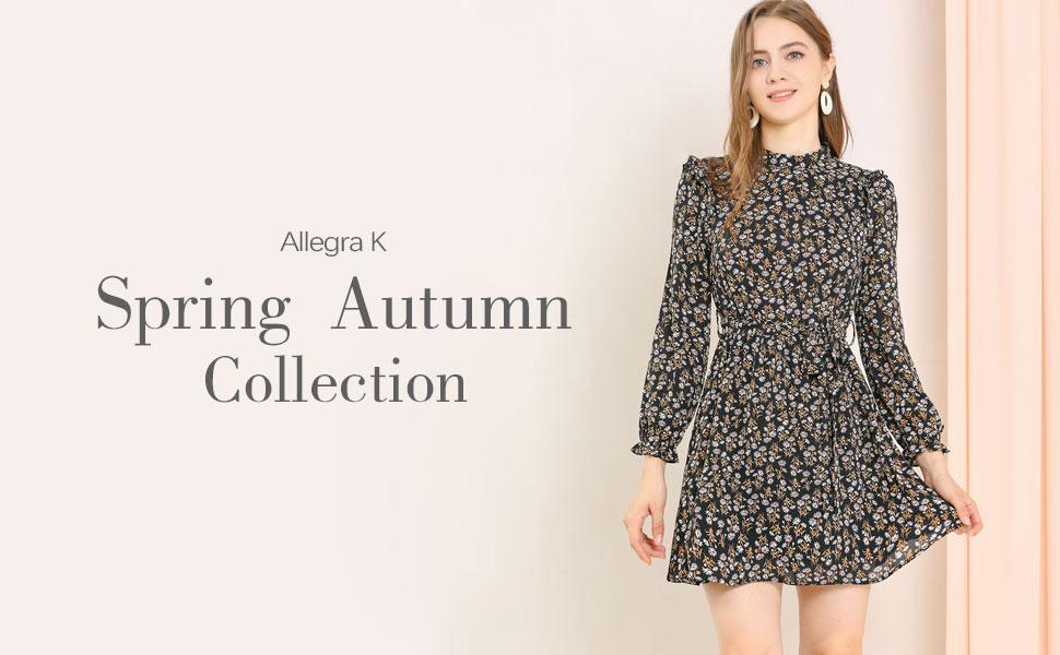Allegra K Women's Ruffled Trim Stand Collar Belted Vintage Daisy Floral Dress