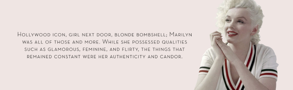 Marilyn Monroe next to a description of her glamour, femininity and icon status