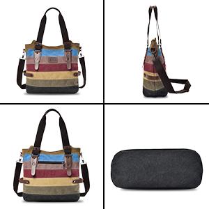 CHEREEKI Canvas Tasche  VIELSEITIG: Die Tasche kann als Umhängetasche, Einkaufstasche, Handtasche