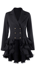 Gothic Double Breasted Tailcoat Steampunk Victorian High Low Notch Lapel Jacket