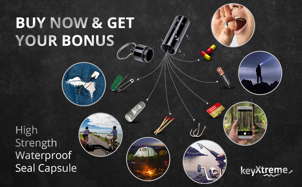 Sealed Capsule Waterproof Cash Stash/Pills Keychain