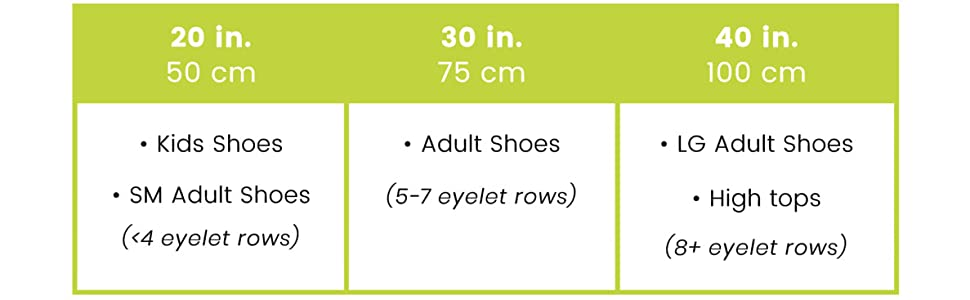 sizing chart, Caterpy, Kids, Adult, 20in, 30in, 40in, laces, no tie