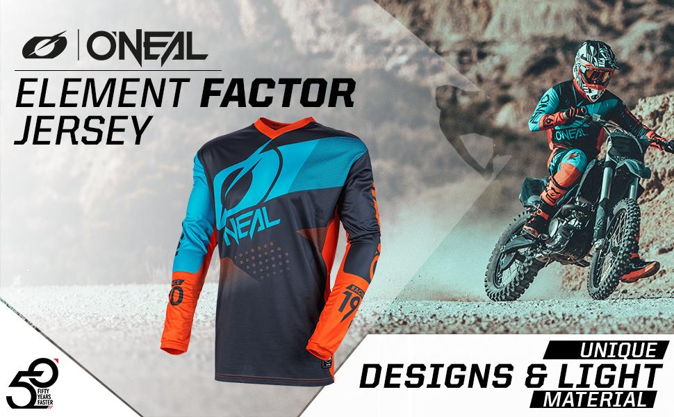 O Neal Motocross Jersey Mx Enduro Motorrad Maximale Bewegungsfreiheit Gepolsterter Ellbogenschutz Atmungsaktives Material Jersey Element Factor Erwachsene Bekleidung