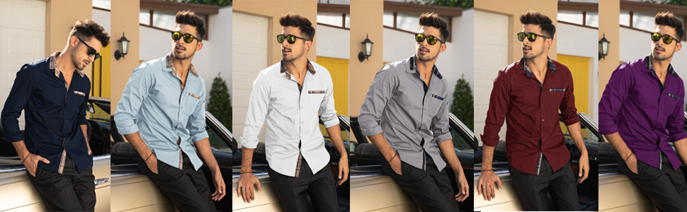 Men's Casual Cotton Slim Fit Dress Shirt