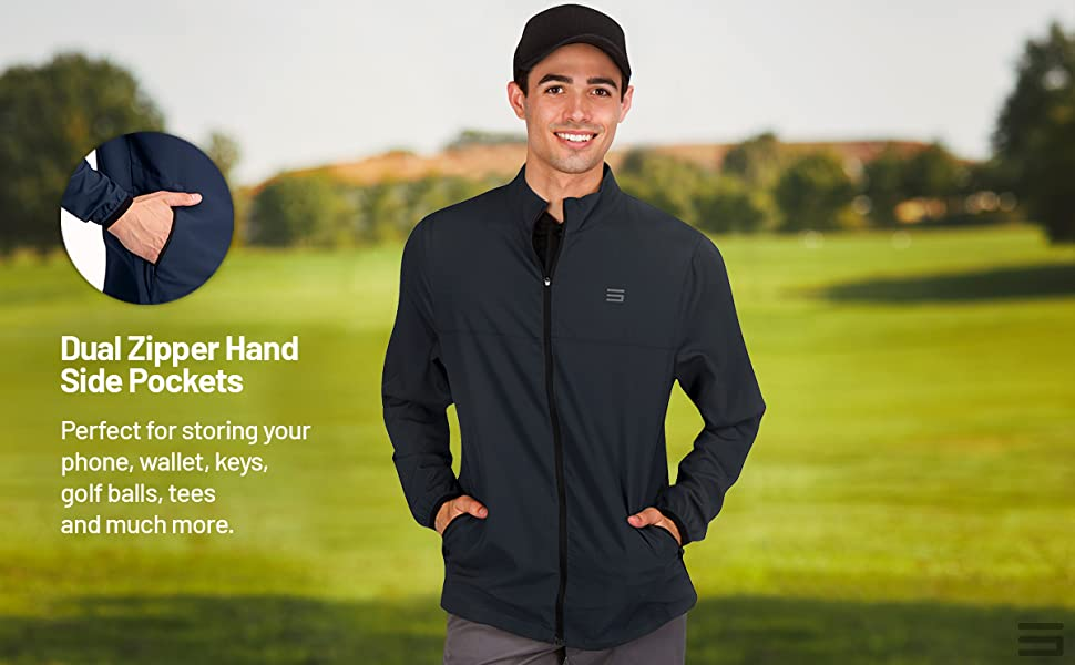 Dual zippered side pockets to store golf balls, tees, wallet, phone, or for convenience.