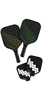 Lightweight Pickleball Paddle Set with Paddle Cover Green Yellow