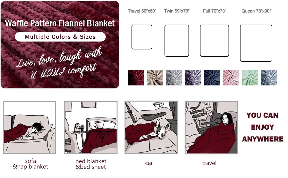 WAFFLE PATTERN FLANNEL BLANKET