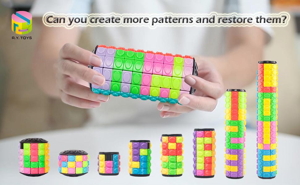 rubiks cube puzzle rubix fidget toy rotate slide magic brain teasers logic portable sensory autistic