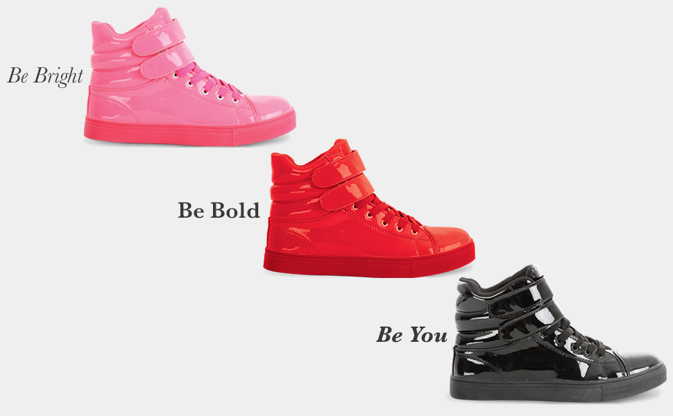 Be Bold Be Bright Be You, Alexandra glossy sneaker, black red pink glossy sneaker