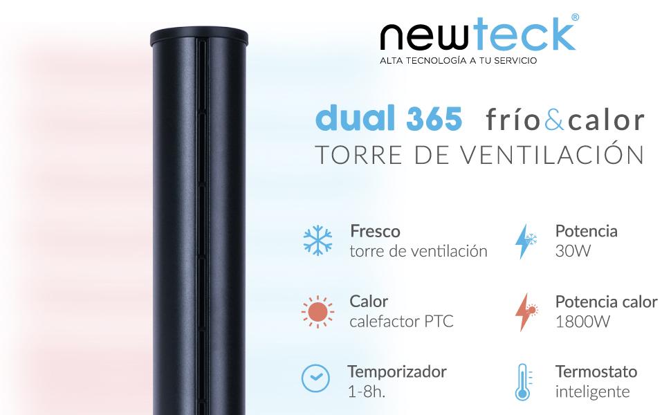 Newteck Ventilador de Torre Dual 365, Ventilador Sin Aspas ...