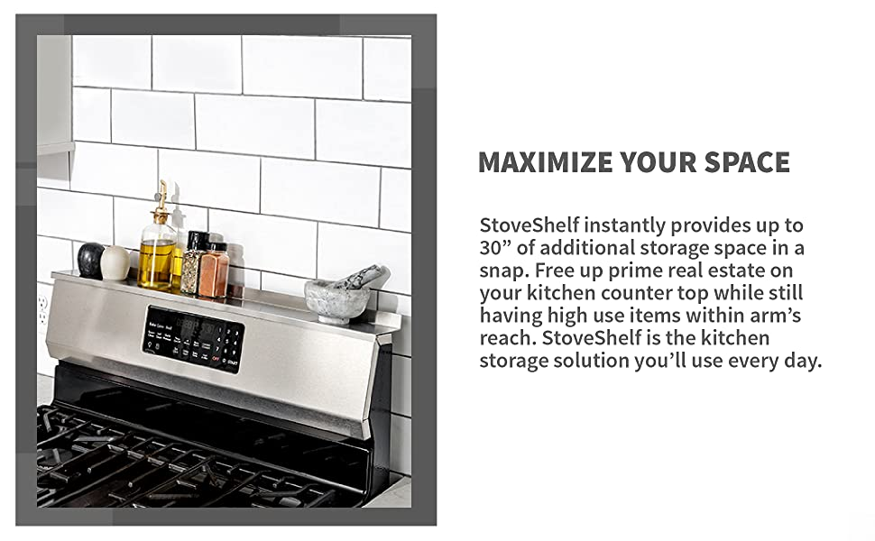 StoveShelf, stainless steel, powder coated, black, white, shelf, spice rack, storage, kitchen,