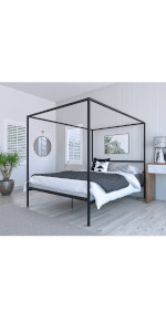 DG Casa Charles 4 Corner Post Canopy Platform Bed Frame Queen Size in Black Metal