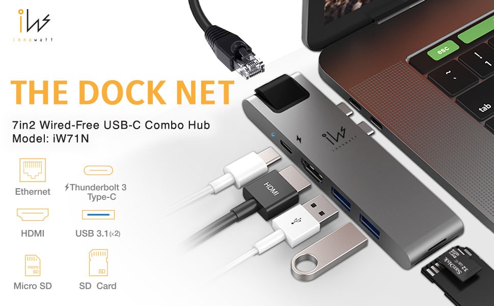 7in1 usb-c internet hub for Macbook pro and Macbook Air