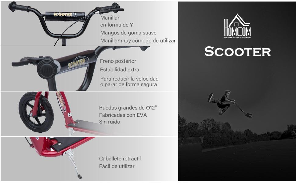 HOMCOM Patinete Scooter 2 Ruedas 12 Pulgadas Monopatín para Niños y Adultos Manillar Ajustable con Freno y Caballete Carga 100kg 120x52x80-88cm Acero