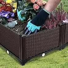 planter box with gardening gloves