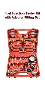 Engine Fuel Pressure Gauge Master Automotive Tool Kit, Dual Scale for 0-140 PSI / 10 Bar