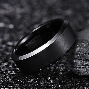 black tungsten wedding bands for men