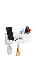Adhesive Shower Caddy with Cell Phone Stand Holder White Floating Wall Shelf Organizer for Bathroom