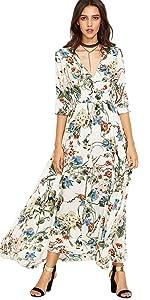 Floral Print Flowy Flared Dress