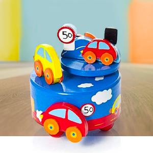 """el regalo perfecto para un bautizo o babyshower Caja de m/úsica rosa para beb/és decorada con b/úhos y con la melod/ía /""""It/'s a small world/"""""""