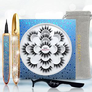 Fake Eyelashes with Eyeliner Kit For Women
