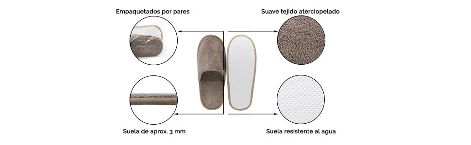 de Hotel Blancas Talla /única ZOLLNER 10 Pares de Zapatillas de Viaje