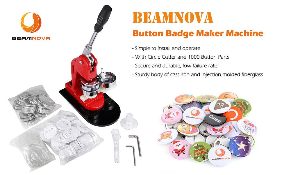 1Inch Badge Button Maker+Adjust Circle Cutter+1,000Set Pin Back Supplies KIT!