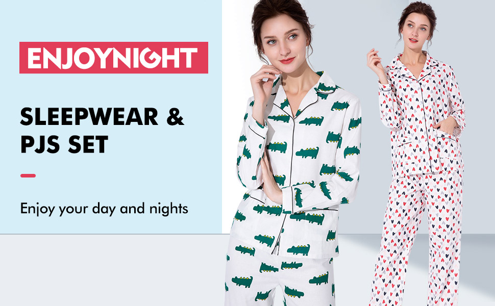 womens pajamas set long sleeves