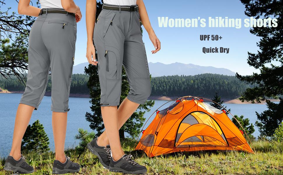 Women's Quick Dry Cargo Shorts,Outdoor Casual Straight Leg Capri Long Shorts for Hiking Camping