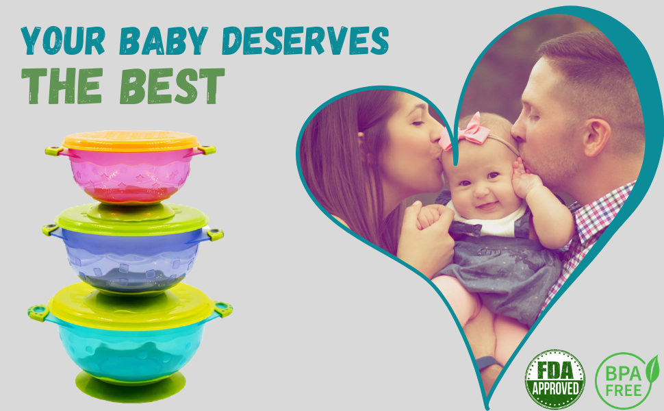 baby toddler suction plastic bowl feeding dish kids infants stick slip stay put blw baby led weaning