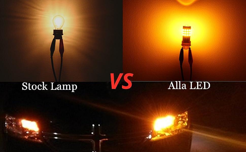 Halogen VS Alla Lighting 3157 3156 4157 Amber Yellow LED Signal Light Bulbs
