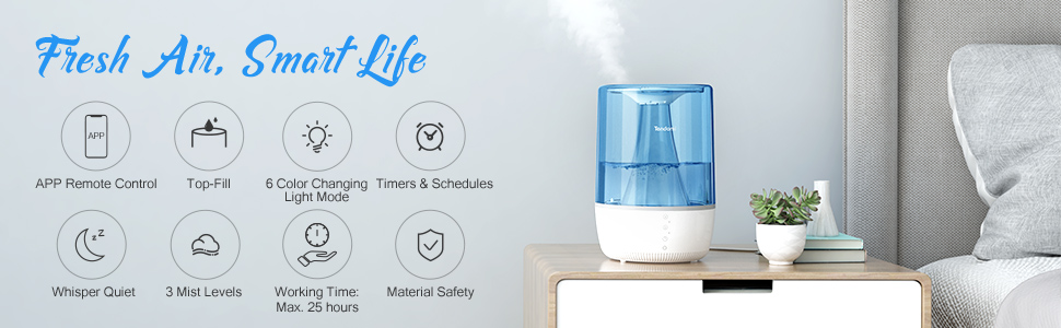TENDOMI Smart Wi Fi Humidifier for Home, Essential Oil Diffuser with 5 Colour Light and Timer, Top Fill Air Humidifier Aroma Diffuser Quiet Cool Mist
