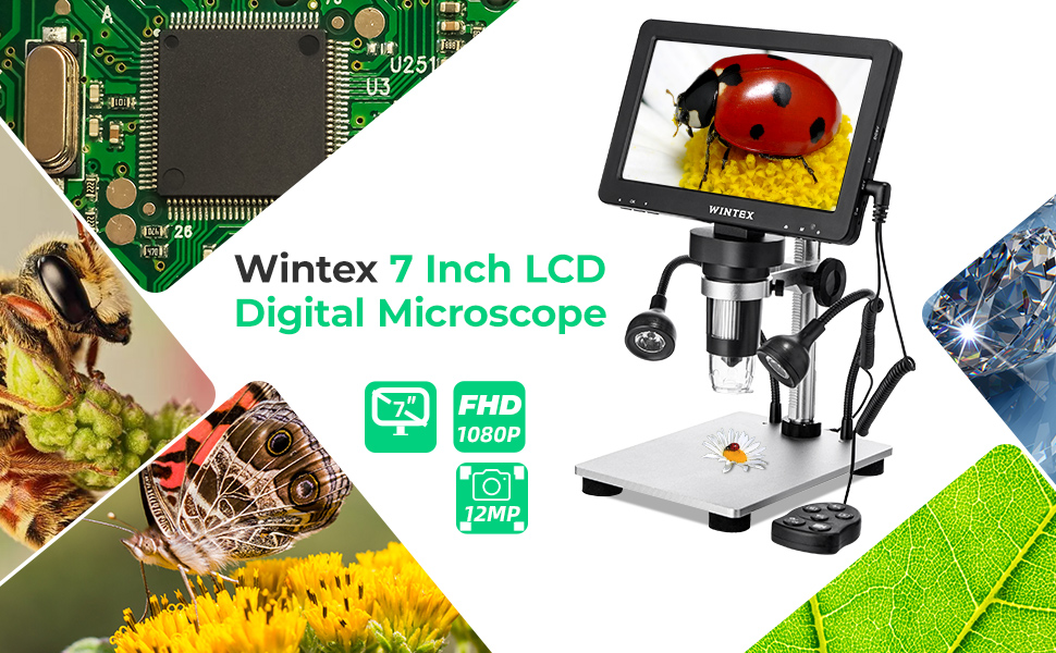 with Battery for outdoor Camera Video Recorder function for Science Education Jewelry//Coin//Insect Observation 【16G SD Card】 Digital 1500X Microscope 7inch 1080P LCD Screen Wintex Handheld USB Scope