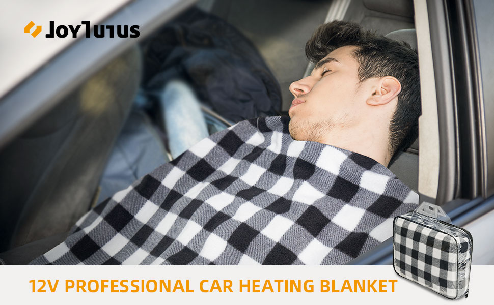 59*43 JOYTUTUS Heated Blanket for Car Intelligent Temperature Control Switch Safe Soft Rapid Heating Durable Convenient Practical 12V Fleece Electric Heated Travel Throw Blanket for Cars Trucks